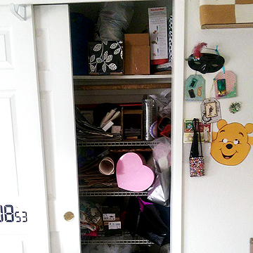 And here are her closet storage shelves.
