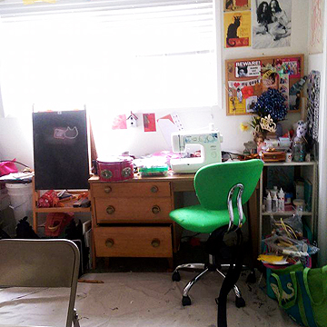 This is Loni's sewing area with additional storage to the right of the sewing desk.