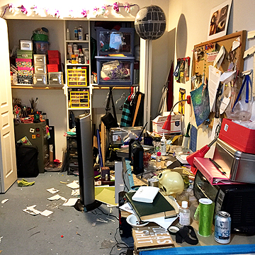 GAH! This is the very messy arts and crafts side of her studio.