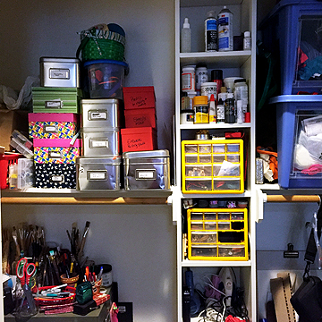 This is the closet where Katie keeps the bulk of her art supplies and tools.