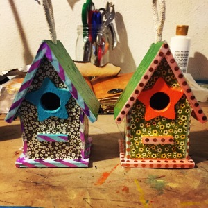 The bird houses Katie made for her mom and grandma.