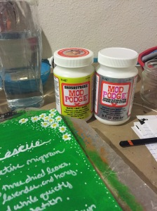 The second set of journal pages Katie did. These used Mod Podge brush stroke and extreme glitter.