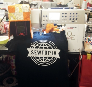 She made a fun boxed wine cozy for a Sewtopia challenge.